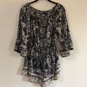 Angie Blue Floral Jumper Large 3/4 Sleeve